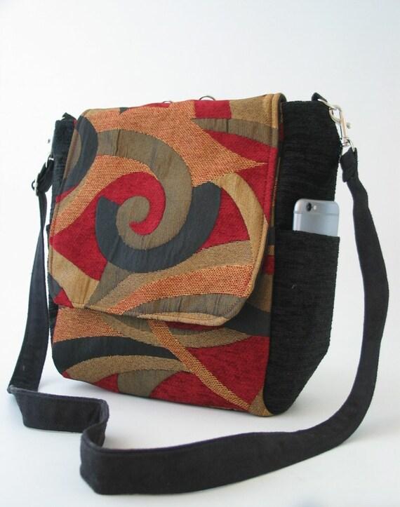 Gobelin Tasche, schwarze Schultertasche, vegane Handtasche, Tasche für jeden Tag, Gobelin Tasche Konvertiten zum Hobotasche, Geschenk für Frauen, am