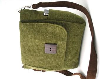 crossbody handbag, green bag, womens backpack purse converts to messenger bag, sling bag, shoulder tote bag,  zipper bag, fits Ipad