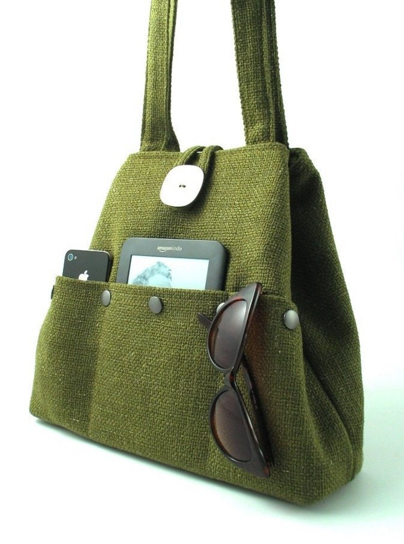 Green handbag tote bag converts to hobo shoulder bag diaper image 0