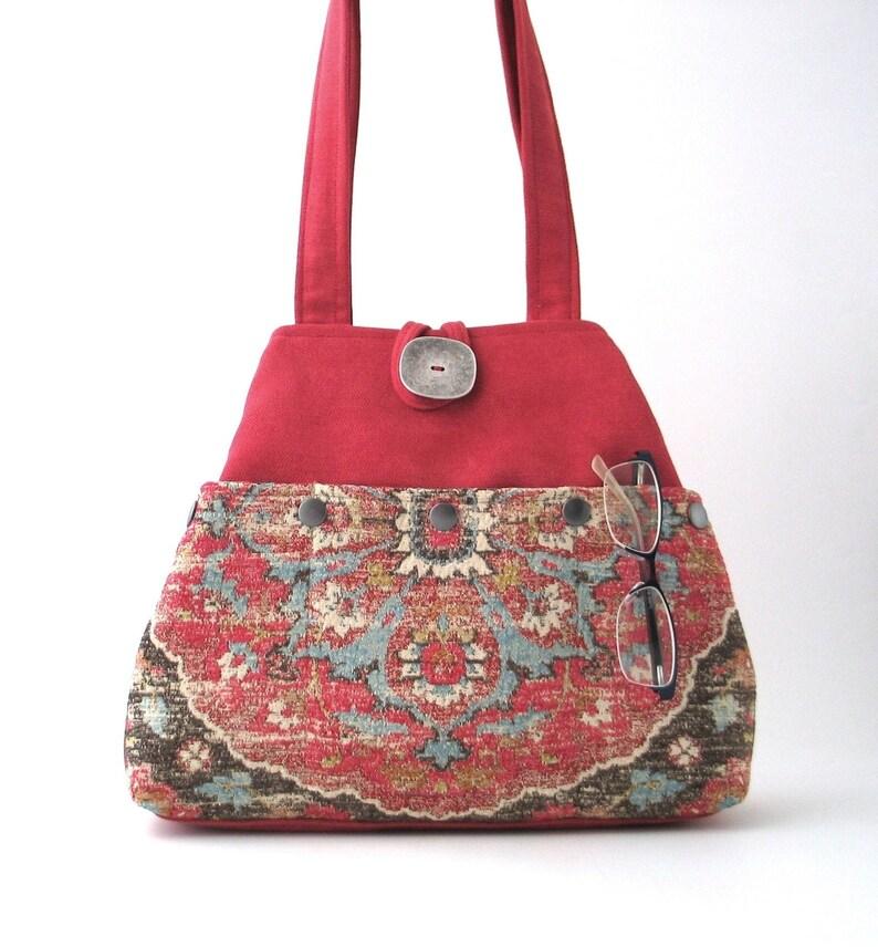 tapestry bag pink shoulder bag fabric handbag sister image 0