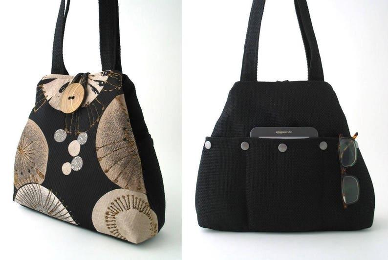 black tote bag with pockets converts to hobo bag shoulder image 0