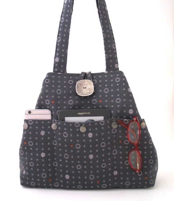 fc2965865a5 gray handbag fabric tote bag grey purse shoulder bag   Etsy