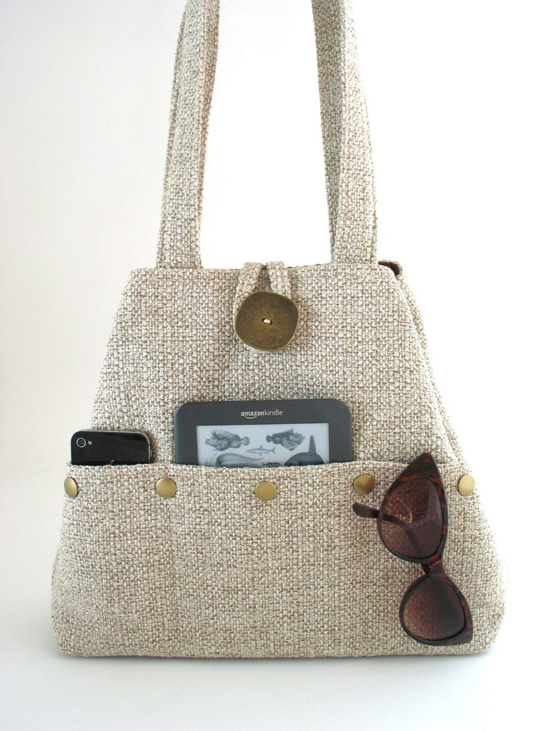 beige purse handmade handbag beige tote bag fabric purse  image 0