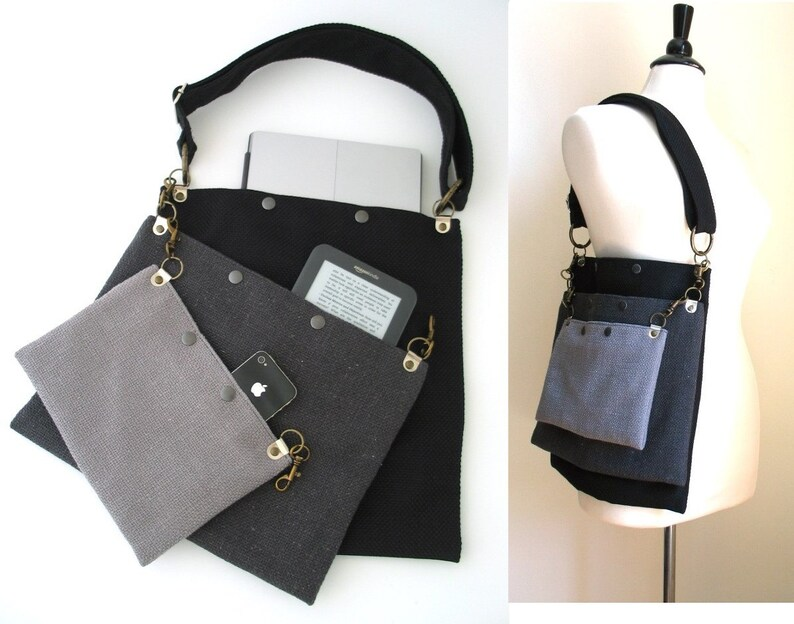 grey crossbody tote bag laptop messenger bag travel bag image 0