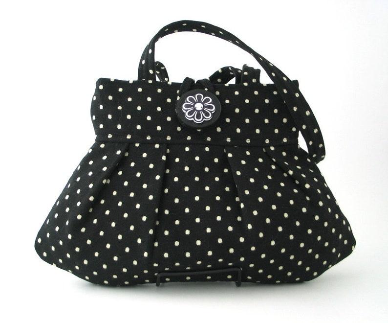 vintage style polka dot purse black handbag fabric shoulder image 0