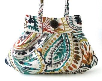 paisley purse- retro purse- small tote bag- womens handbag -shoulder bag -paisley bag- fabric bag- retro bag- shoulder tote