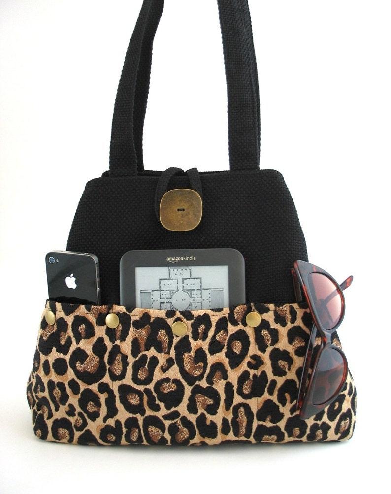 animal print bag leopard purse black shoulder bag convert to image 0