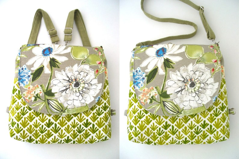 convertible backpack purse womens shoulder bags fabric image 0