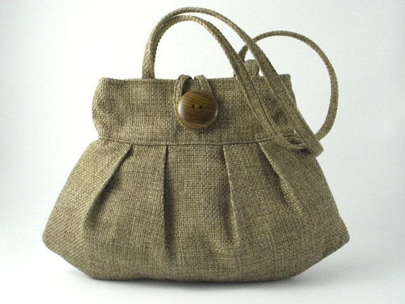 retro bag shoulder purse fabric handbag pleated handbag image 0