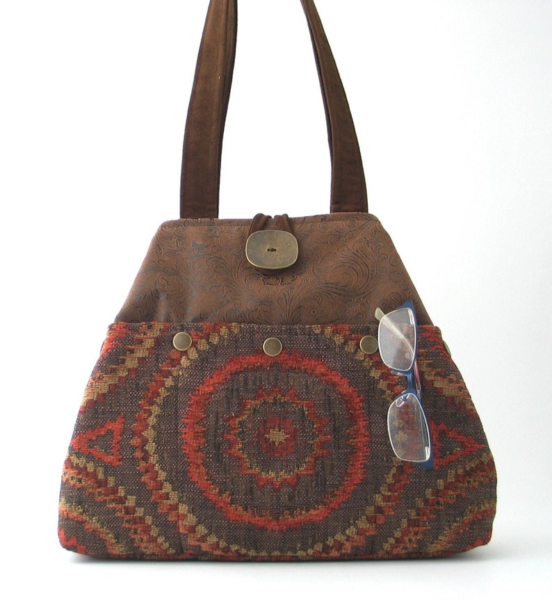 fabric handbag brown shoulder bag faux leather tote converts image 0