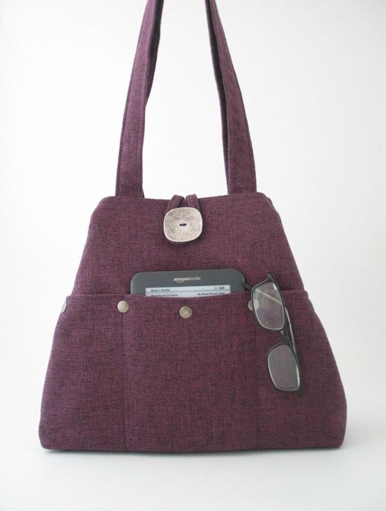 purple bag large handbag purple purse vegan purse vegan image 0