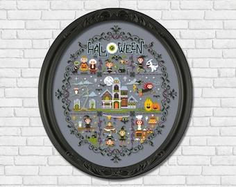 Whacky Witches in Stitches Halloween sampler - PDF cross stitch pattern
