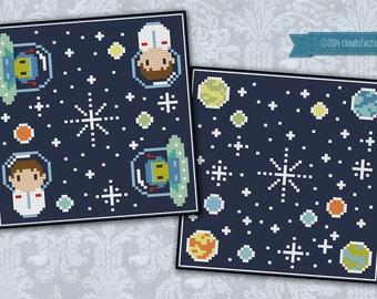 Oh Space Boy biscornu - Cross stitch PDF pattern