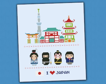 Japan icons - Mini people around the world - PDF cross stich pattern