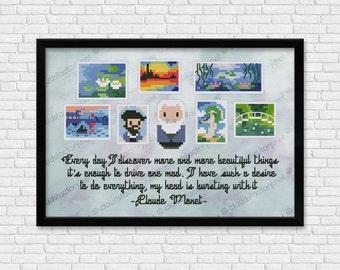 Claude Monet - Mini Artists Galleries - PDF cross stitch pattern