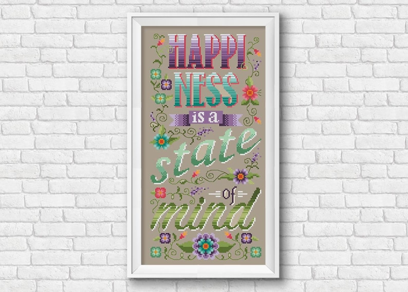 Happiness Is A State Of Mind Quote Pdf Cross Stitch Etsy