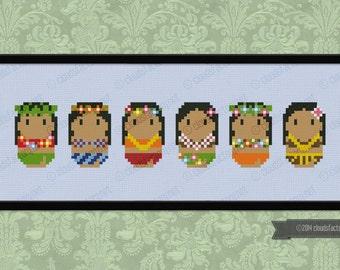 Cute Hula Dancers - PDF cross stich pattern