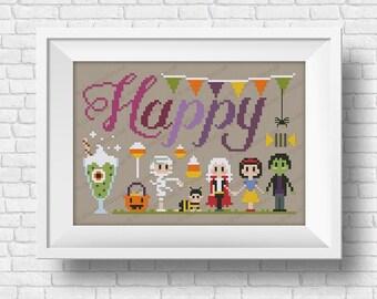 Happy - Halloween Wor(l)ds - PDF cross stitch pattern