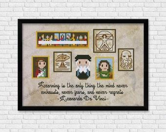 Leonardo da Vinci - Mini Artists Galleries - PDF cross stich pattern