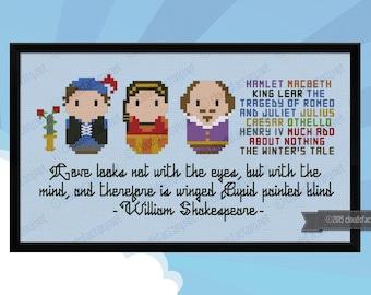 William Shakespeare - Mini Libraries - Cross stitch PDF pattern