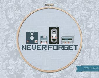 Never Forget - Cross stitch PDF pattern