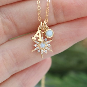 personalized necklace Valentines gift for her Opal necklace birthstone celestial sapphire jewelry July layering necklace opal jewelry
