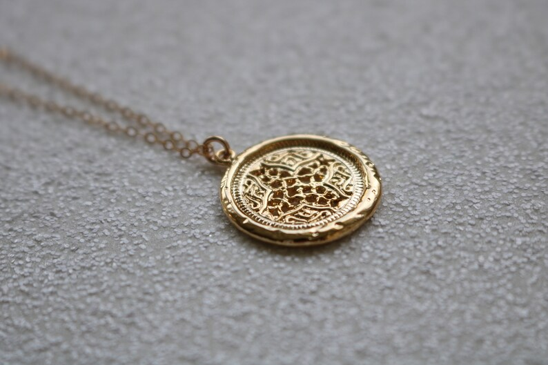 personalized cross pendant Gold coin pendant necklace custom necklace gift for her religious necklace layering necklace cross necklace
