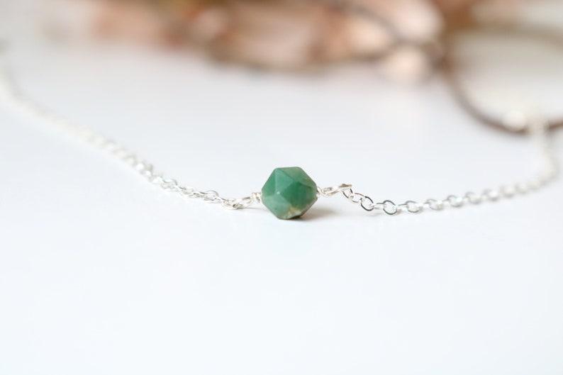 May birthstone necklace chrysoprase gemstone necklace personalized jewelry May chrysoprase necklace emerald necklace green necklace