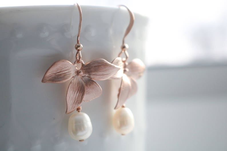 pearl earrings birthstone jewelry bridal gold orchid earrings silver wedding jewelry delicate earrings formal earrings Blush earrings