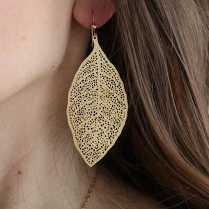 Statement Earrings Gold Leaf Earrings Boho Metal Earrings laser Cut Golden Earrings Feather Earrings