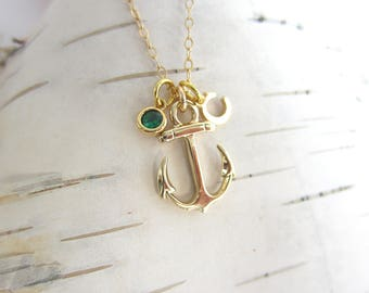 Rose gold anchor necklace, nautical necklace, tiny anchor pendant, simple necklace, tiny pendant necklace, delicate necklace, anchor jewelry