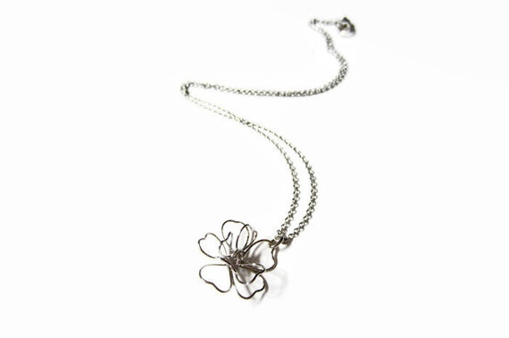 Modern Rose Necklace Delicate Wire Wrapped Flower Necklace Etsy