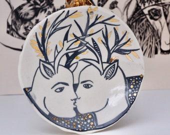 Sylvan kiss  ,shallow plate or wall hanging
