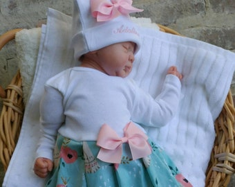 a35145822 Newborn Girl Coming Home Outfit Personalized Floral Tribal Boho Layette  Gown Beanie Outfit Baby Girl Shower Gifts Take Home Outfit Pink Mint