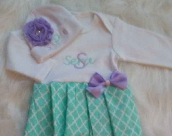 719cffb5431 Baby Girl Gown Newborn Baby Girl Coming Home Outfit Mint Lavender Take Home  Outfit Personalized Baby