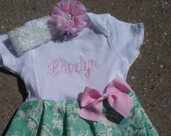Baby girl coming home outfit, baby girl clothes, baby girl outfits, baby girl take home outfit, dress, newborn bodysuit, headband, mint