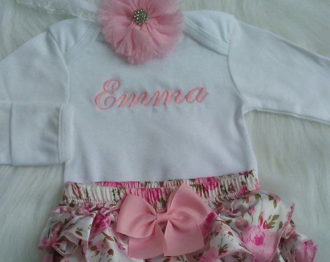 23ef55155d0 Newborn Baby Girl Coming Home Outfit Personalized Bodysuit Floral Ruffle  Bloomer Newborn Headband Take Home Outfit