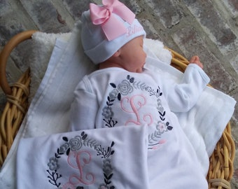 20c7b49321f63 Newborn Girl Coming Home Outfit Personalized Floral Gown Beanie Swaddling  Blanket Baby Girl Shower Gifts Take Home Outfit Floral Wreath Baby