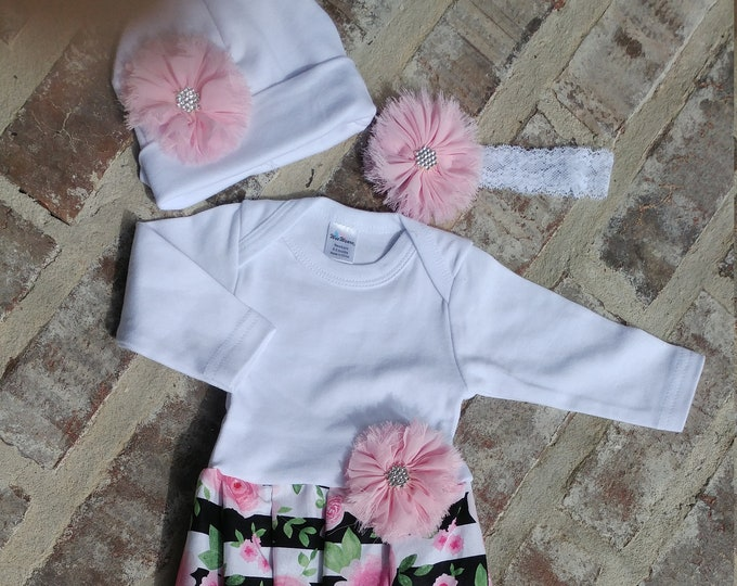 c6c705f2 Newborn Girl Coming Home Outfit Personalized Floral Gown Beanie Headband  Blanket Coming Home Outfit Spring Summer