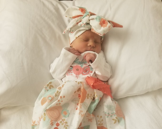 3aa33a44 Newborn Girl Coming Home Outfit Personalized Floral Gown Turban BOHO Coral  Mint Baby Girl Shower Gifts