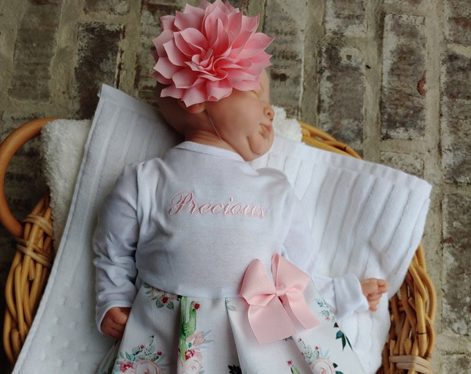 4fdd156b Newborn Girl Coming Home Outfit Personalized Floral Gown Beanie Baby Girl  Shower Gifts Take Home Outfit