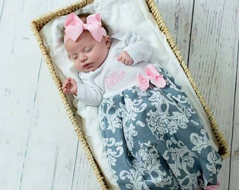 83ffd20c69b4 Newborn Hospital Outfit, Personalized Baby Girl Clothes, Newborn Girl Take  Home Outfit, Monogram Baby Girl Outfit, Personalized Baby - pink