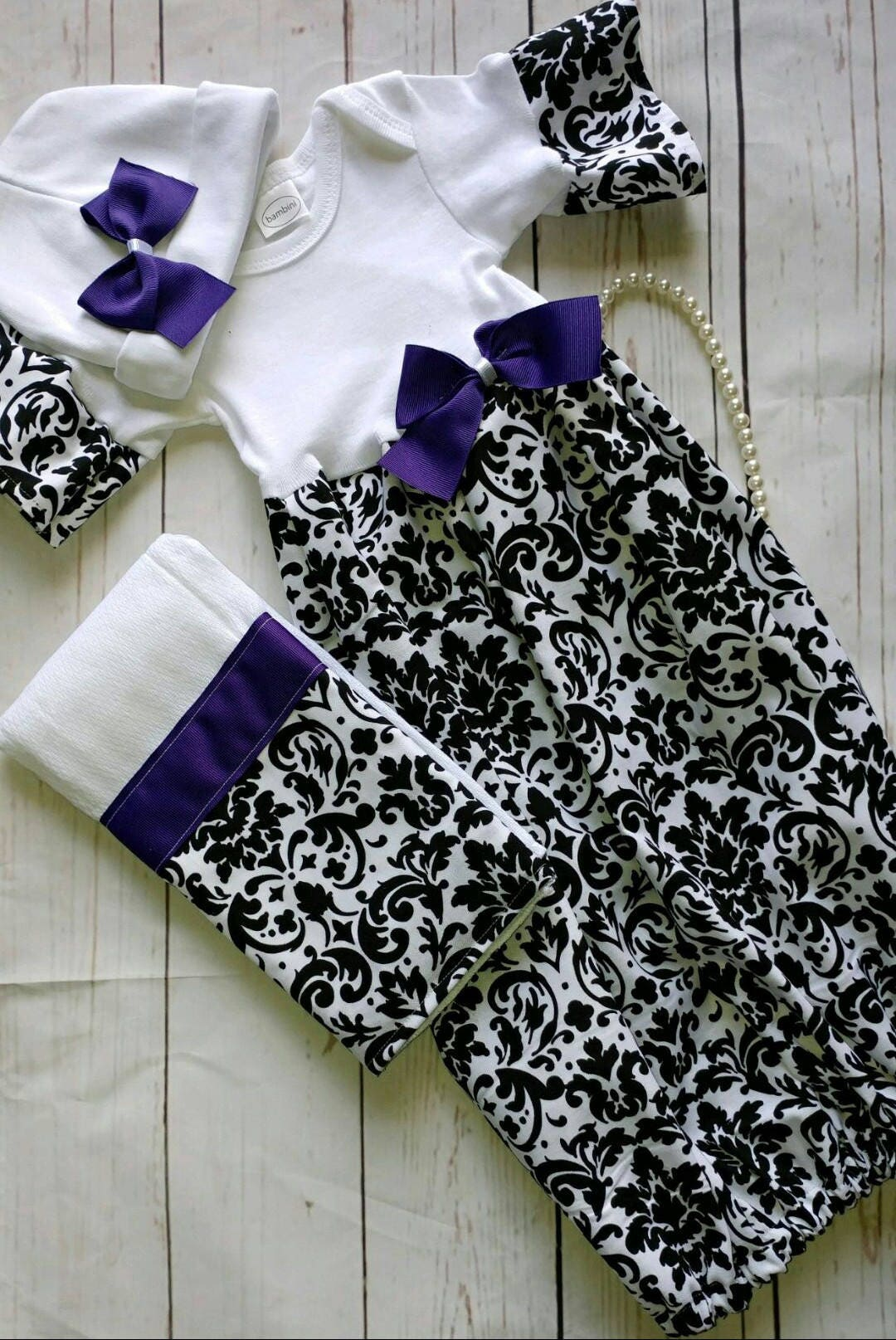 Baby girl coming home outfit - baby girl clothes - layette gown ...