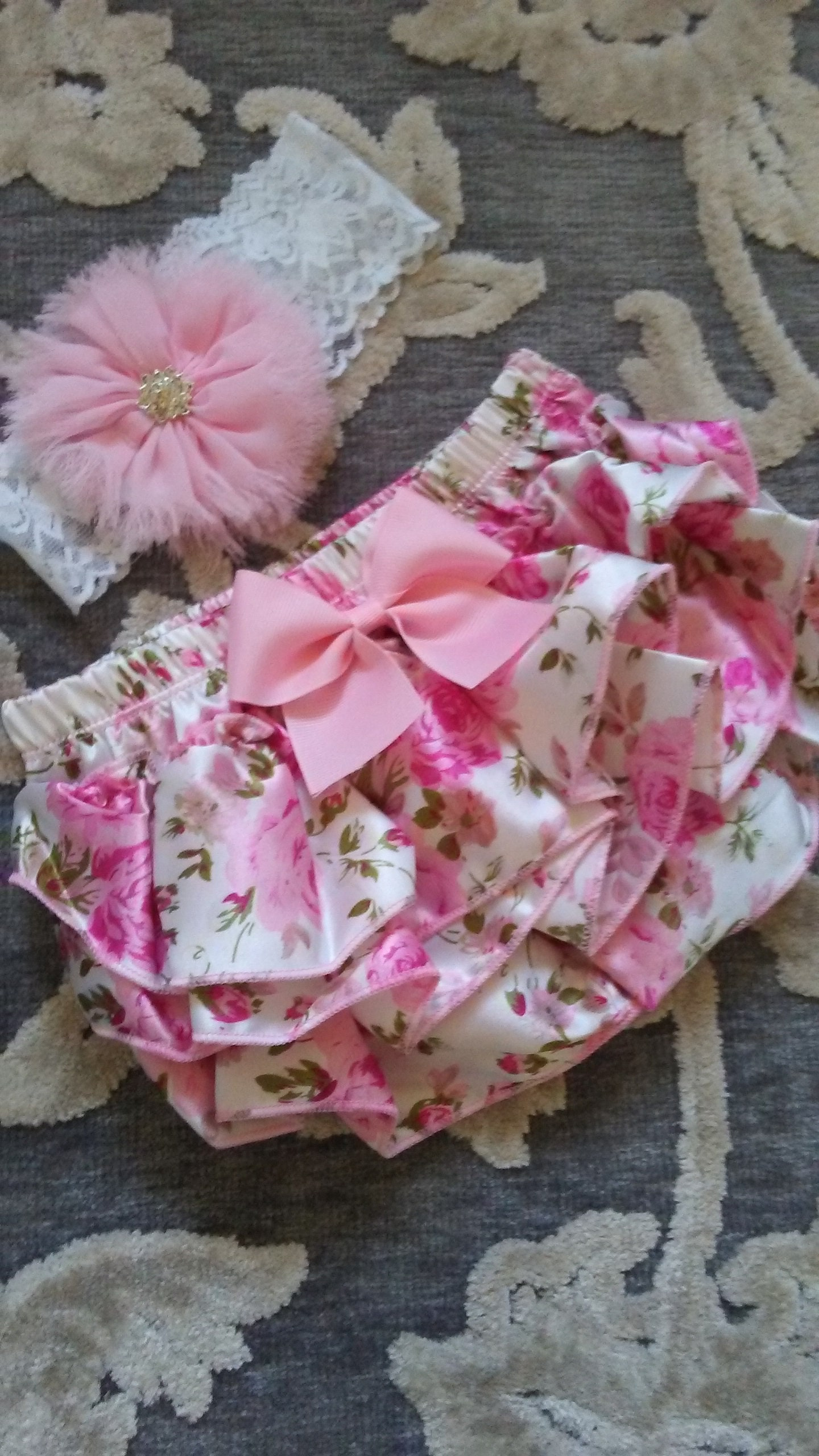 20914f121e3eb ... Home Outfit Baby Girl Floral Ruffle Bloomer Headband Personalized Baby.  1