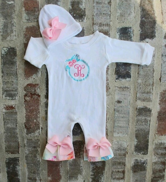 bd71c26c3 Newborn Girl Coming Home Outfit Monogrammed Floral Footie
