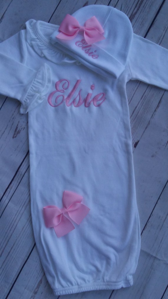 baby girl layette gown newborn hat personalized baby gift | Etsy