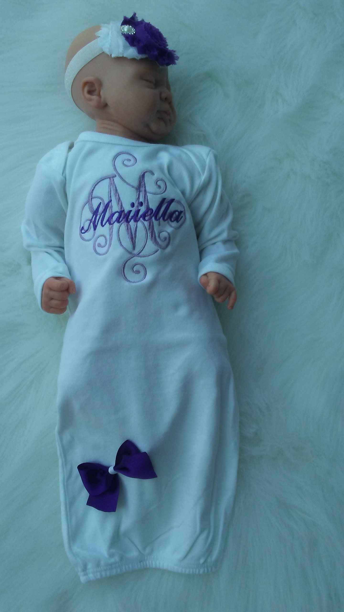 f89ba0cc0b36b Personalized Baby Girl Coming Home Outfit Purple Newborn Hospital Outfit  Newborn Girl Take Home Outfit Personalized Baby Shower Gifts