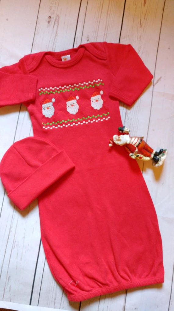 Baby Boy Coming Home Outfit Christmas Santa Layette and Beanie | Etsy