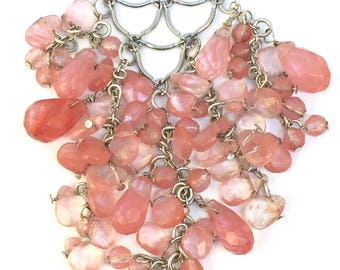 Rose Quartz Multi Bead Bib Necklace with Silver Metal Lattice Work Details by Quamby Designs
