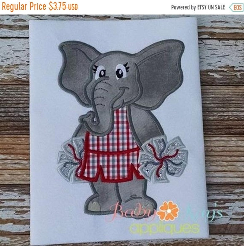 Elephant On Cheerleader Design Sale 4x45x76x108x8 Applique uwOTklXPZi